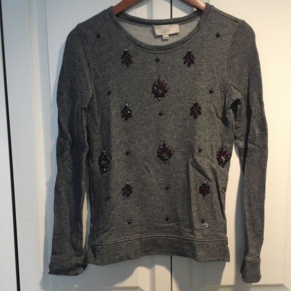 Loft women's grey crystal and stone embellished XS